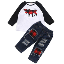 1-6Y Christmas Kids Baby Girls Boys Reindeer T-shirt Tops +Jeans Pants Outfits Set 2pcs suit baby boy xmas clothes set цены онлайн