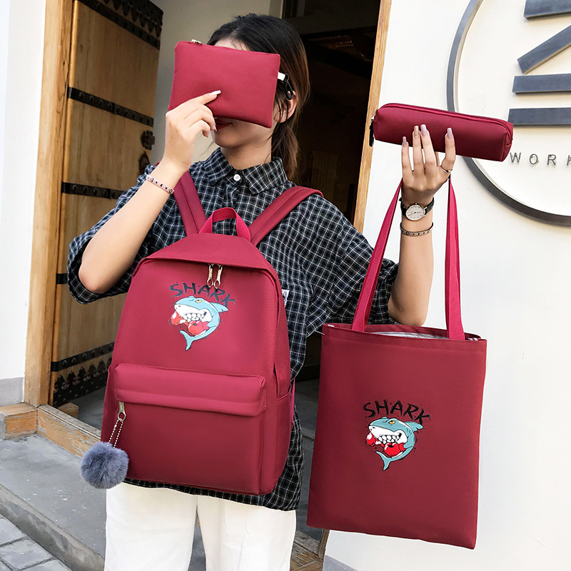 New Products Canvas High School Young STUDENT'S Shoulder School Bag Cartoon Violence Shark Printing Buy One Get Four Korean-styl