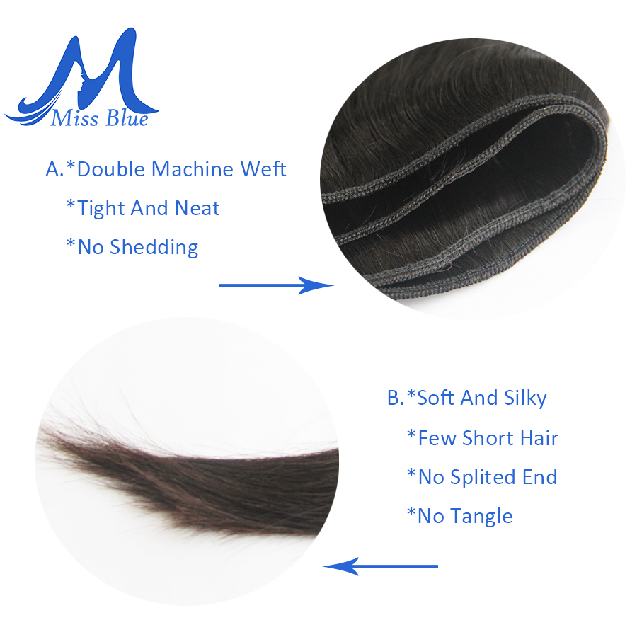 Missblue Peruvian Hair Weave Bundles Straight 100% Human Hair 34 36 38 40 Inch 3/4 Bundles Natural Color Remy Hair Extensions 8
