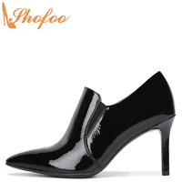 Black Patent Leather High Thin Heels Ankle Boots Woman Pointed Toe Elastic Booties Large Size 14 15 Ladies Fashion Shoes Shofoo