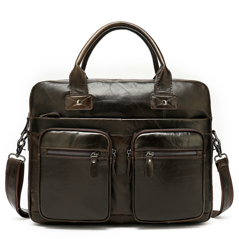 100% Genuine Leather Bag For Men's Briefcase Office Laptop Bag A4 Lawyer Portfolio Bags Leather Male Cartable Computer 8380