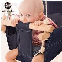 Let's fazer algodão cadeira balanço do bebê pendurado madeira crianças brinquedo do jardim de infância fora indoor praia cesta balanço cadeira brinquedo do bebê|Balanços brinquedo| |  -