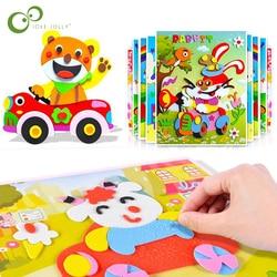 10/5Pcs 3D EVA Foam Sticker Puzzle Game DIY Cartoon Animal Learning Education Toys For Children Kids Multi-patterns Styles GYH