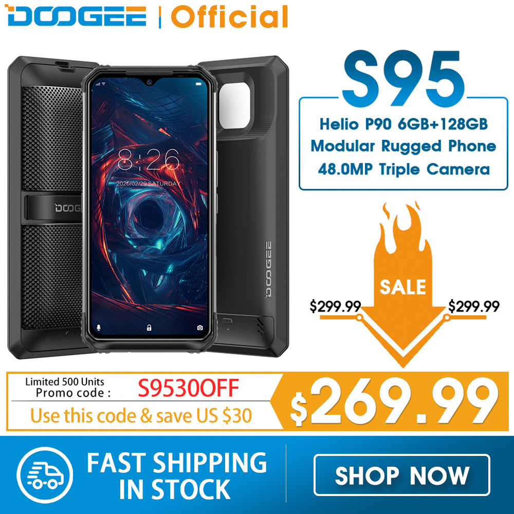 DOOGEE S95 IP68 Modular Rugged Mobile Phone 6.3inch Display Helio P90 Octa Core 6GB 128GB 48MP Triple Camera Android 9.0 5150mAh