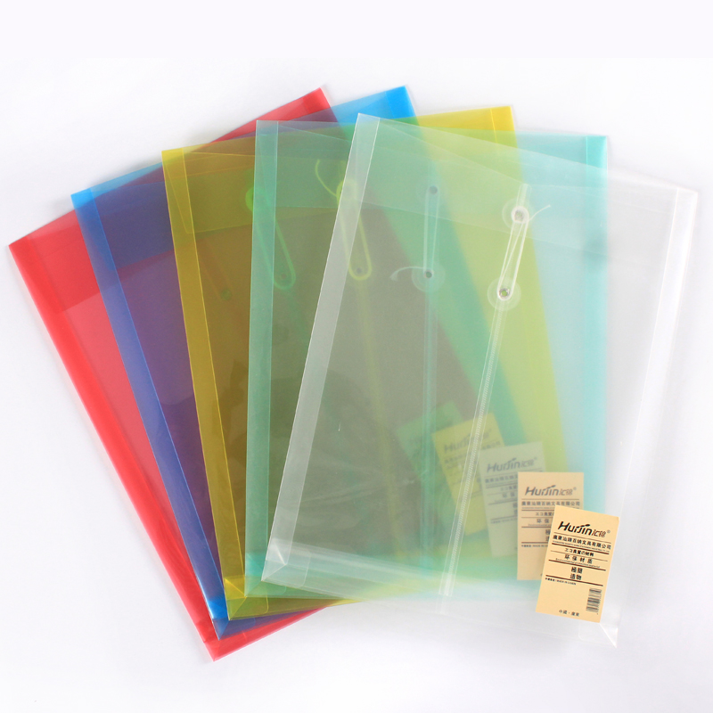 Plastic File Bag A4 Office Folder Button Closure Transparent Document Storage Paper Portfolio School Stationery Filing Products