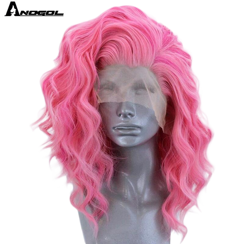 Anogol Short Roll Wave Pink Free Part High Temperature Fiber 360 Frontal Synthetic Lace Front Hair Wigs For White Women