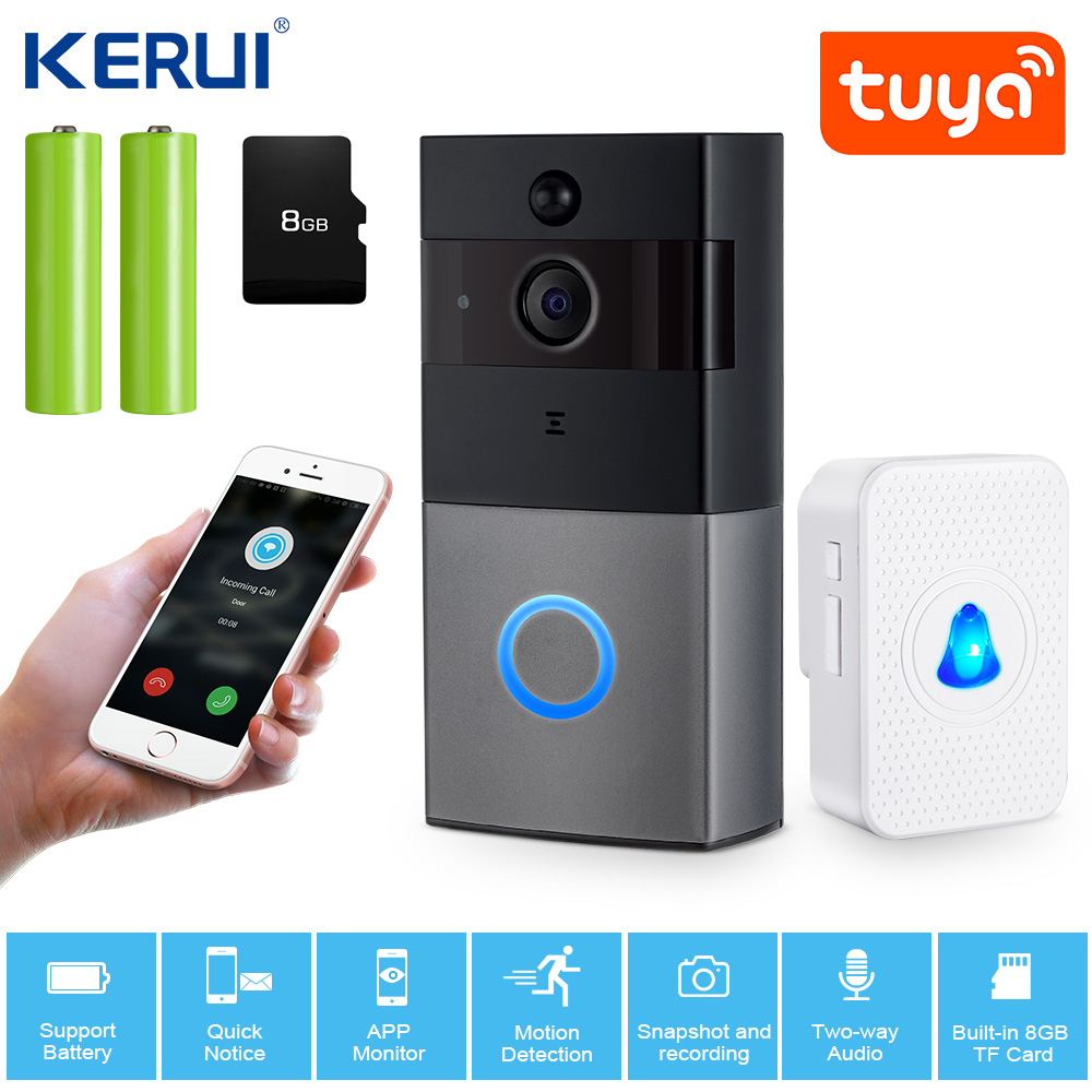 KERUI 2.0MP 1080P Intercom Tuya App Video Doorbell Wireless Security Camera  Two Way Audio Night Vision  Door Bell Intercom