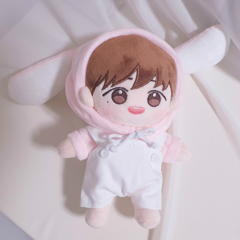 [MYKPOP]KPOP Doll's Clothes And Accessories: Bunny Hooded Sweatshirt + Overalls 2pcs Set For 20cm &15cm Dolls SA19102912