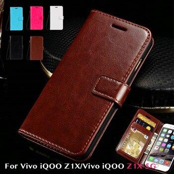Перейти на Алиэкспресс и купить Флип-чехол из искусственной кожи для Vivo iQOO Z1X, держатель для карт, силиконовый чехол для фоторамки, чехол-бумажник для Vivo iQOO Z1X, 5G, деловой чехо...