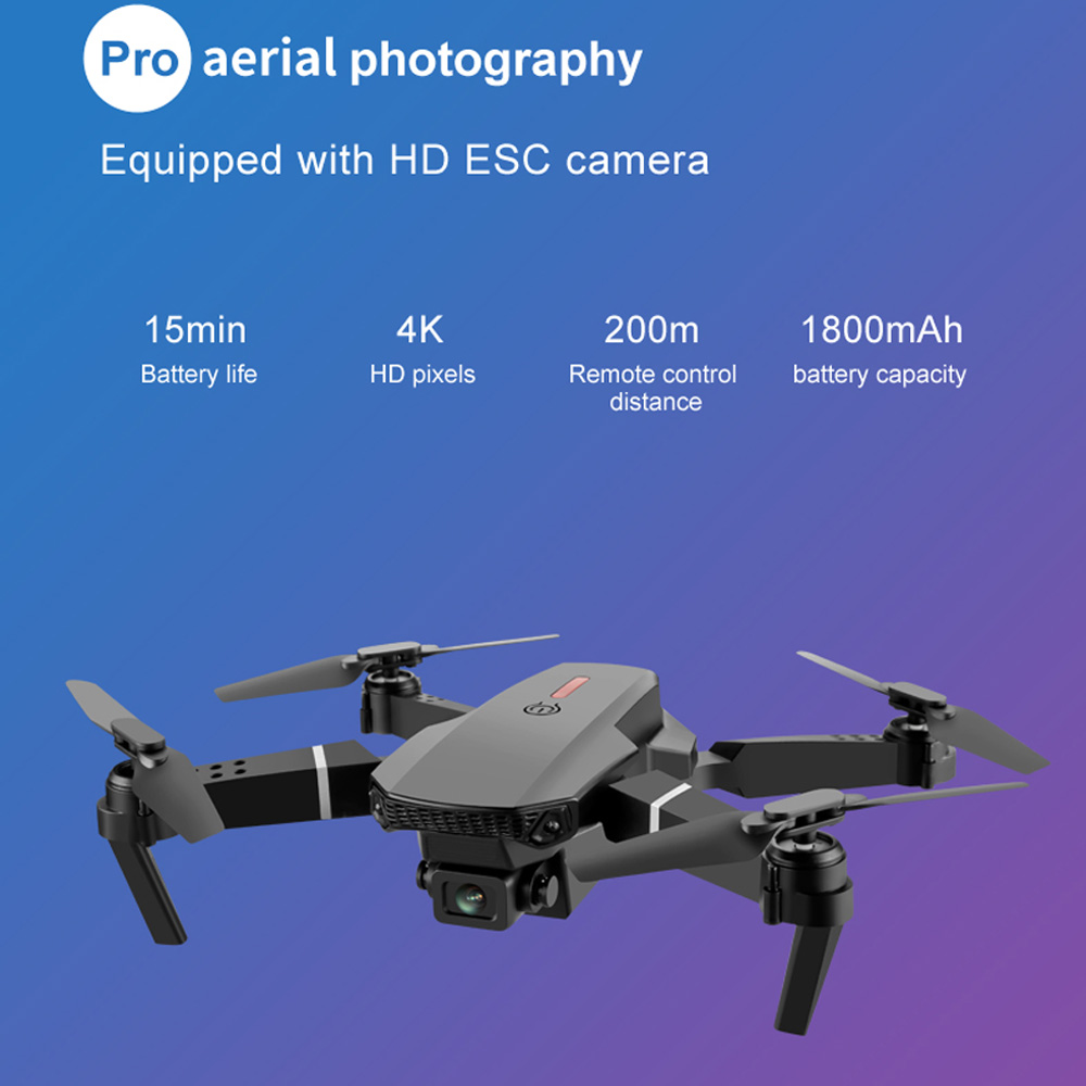 SHAREFUNBAY E88 pro drone 4k HD dual camera visual positioning 1080P WiFi  fpv drone  height preservation rc quadcopter 4