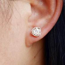 New Cute Small Hollow Out Flower Stud Earrings Women Zircon Silver Plated Ear Jewelry Rose Gold Color Jewelry Bijoux Gift(China)