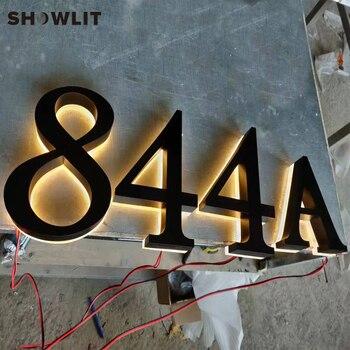 Numero di Casa Esterno Impermeabile su Ordine Separato Nero Illuminazione Fino a Casa Numeri Showlit Store