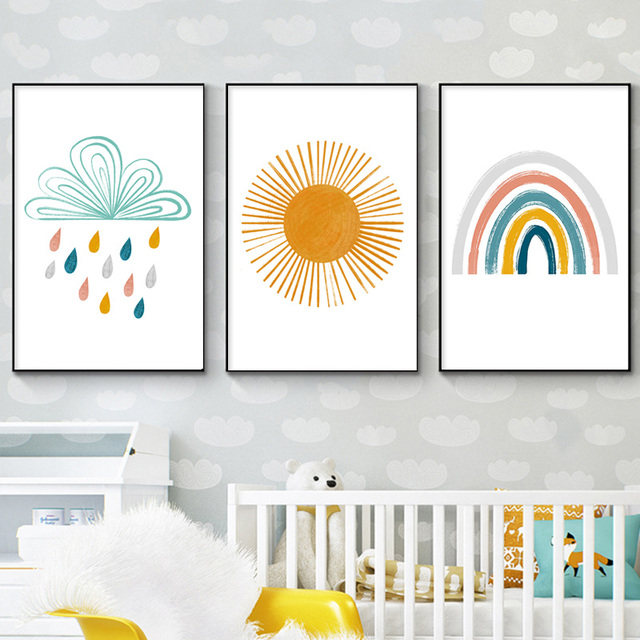 Baby Nursery Canvas - Brush Painting Nordic Kids Decoration