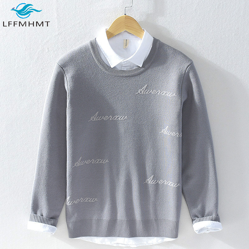 Winter Fall New Trendy Men O-Neck Letter Embroidery Long Sleeve Sweater Male Simple Casual Warm Fleece Thicken Pullover Knitwear