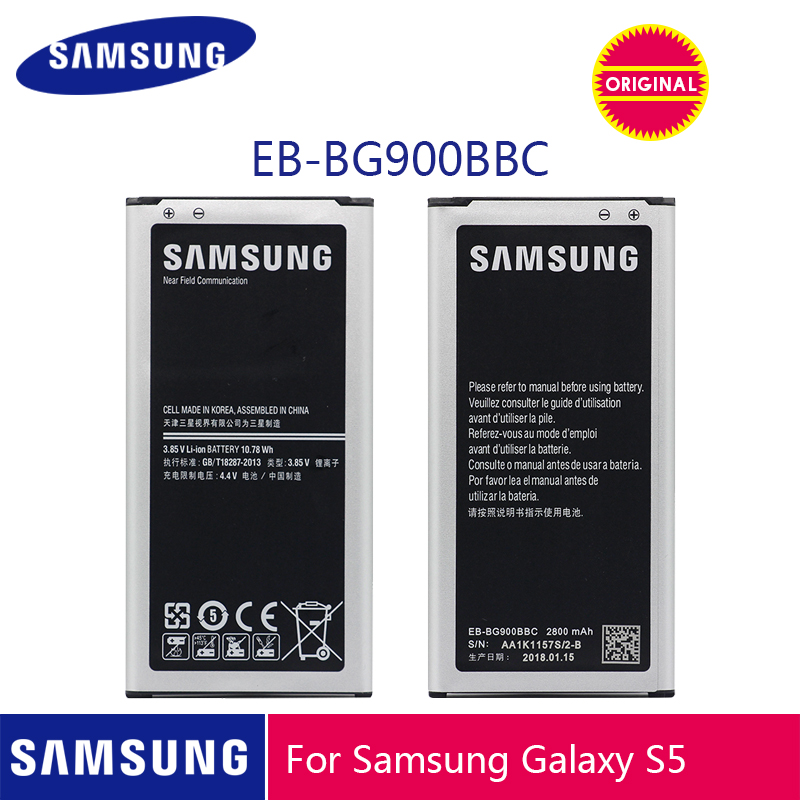 SAMSUNG Original Battery EB BG900BBU EB BG900BBC 2800mAh for Samsung Galaxy S5 G900S G900F G900M G9008V 9006V 9008W 9006W G900FD-in Mobile Phone Batteries from Cellphones & Telecommunications on