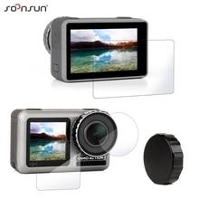 SOONSUN Protector de pantalla de vidrio templado, resistente a los arañazos, película protectora de lente + tapa de silicona, cubierta para DJI Osmo Action Camera