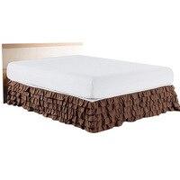 5 שכבות פרע חצאית מיטת Twin/מלא/מלכה/מלך גודל מיטת כיסוי ללא משטח מלון בית חדר שינה מיטת אלסטי חצאית Couvre מואר