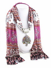 купить 2019  style tassel pendant pendant scarf printed cloth peacock pendant pendant scarf lady shawl neck jewelry pendant scarf дешево