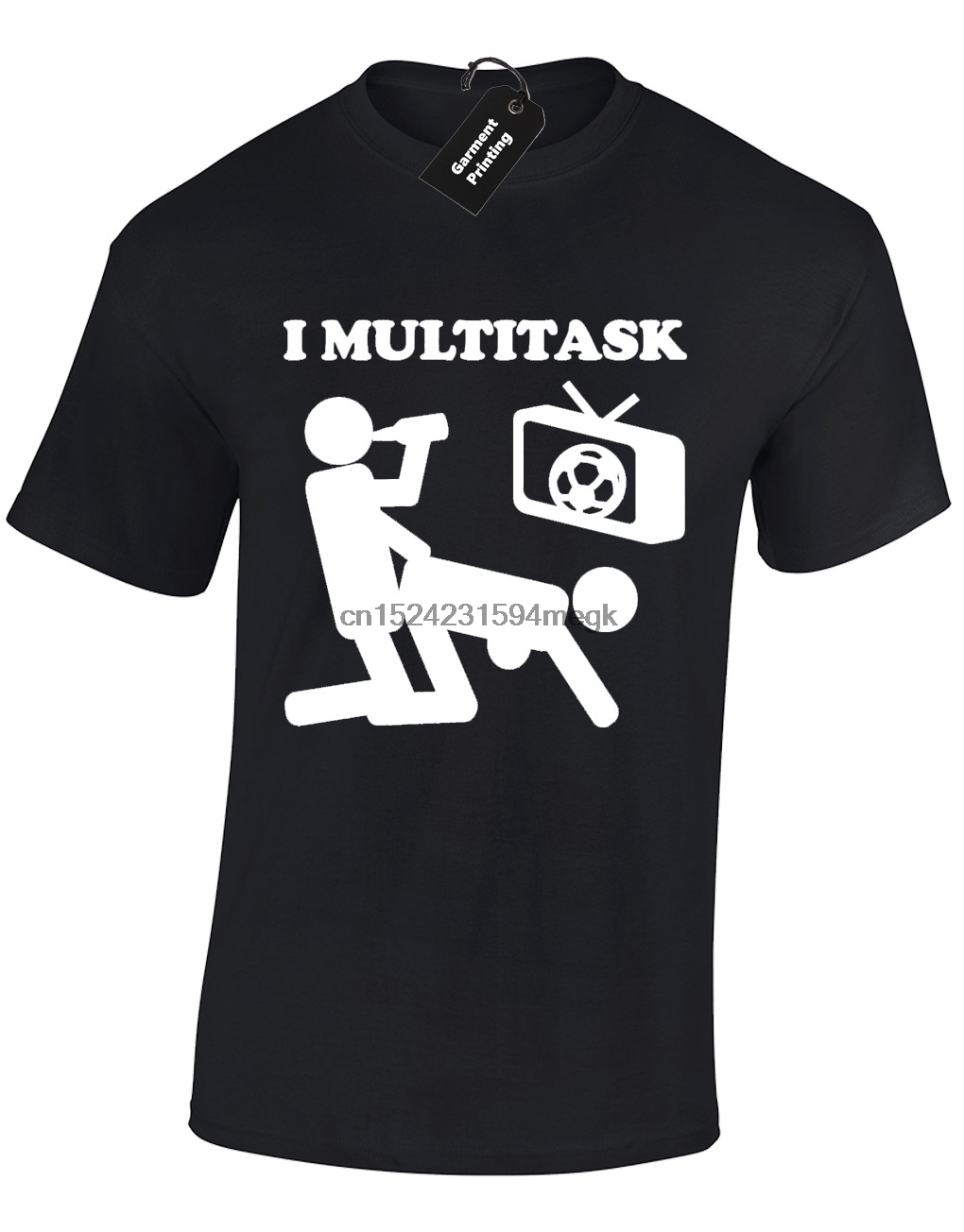 I MULTITASK MENS T SHIRT FUNNY RUDE FOOTBALL TV BEER DESIGN SOCCER AM JOKE S-5XL