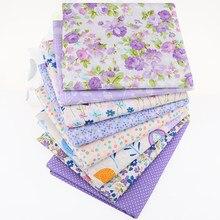 Nanchuang roxo floral impresso tecido de algodão sarja têxtil para diy estofando costura bebê & crianças folha travesseiro material 50x160cm