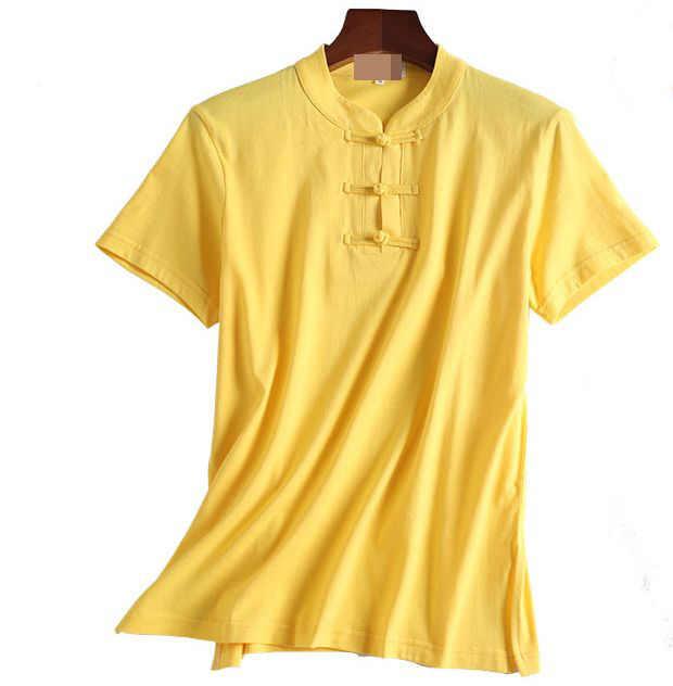 Unisex lato bawełna krótki rękaw strój tang kung fu sztuki walki koszule tai chi lay medytacja mundury żółty/szary/różowy/niebieski