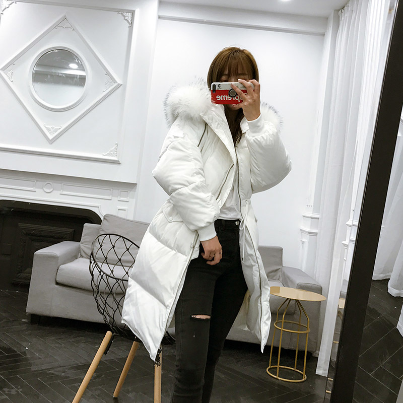 Thick Korean Long Winter White Down Jacket Women Large Real Racoon Fur Collar Loose Womens Coat Chamarras De Mujer KJ434