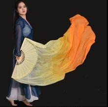 جديد البرتقال التدرج الحرير الحجاب الرقص مروحة لينة الرقص الشرقي الحرير الخيزران مقبض طويل المشجعين الحجاب اضافية طويلة 100% الحرير 1 زوج