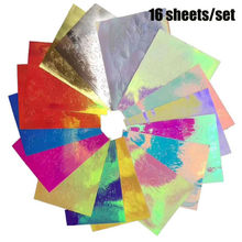 16Pcs Holographic Glitter Nail Stickers Decals Fire Flame Hollow Nails