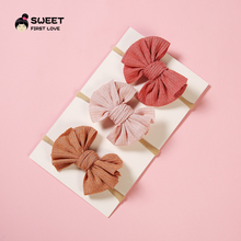 3Pcs/lot Cute Bow Baby Headband Hair clips Nylon Head Bands Turban Newborn Headbands Hairbands For Kids Girls Hair Accessories sunlikeyou baby headband butterfly girls embroidery hair bands for girls kids headbands turban newborn baby hair accessories