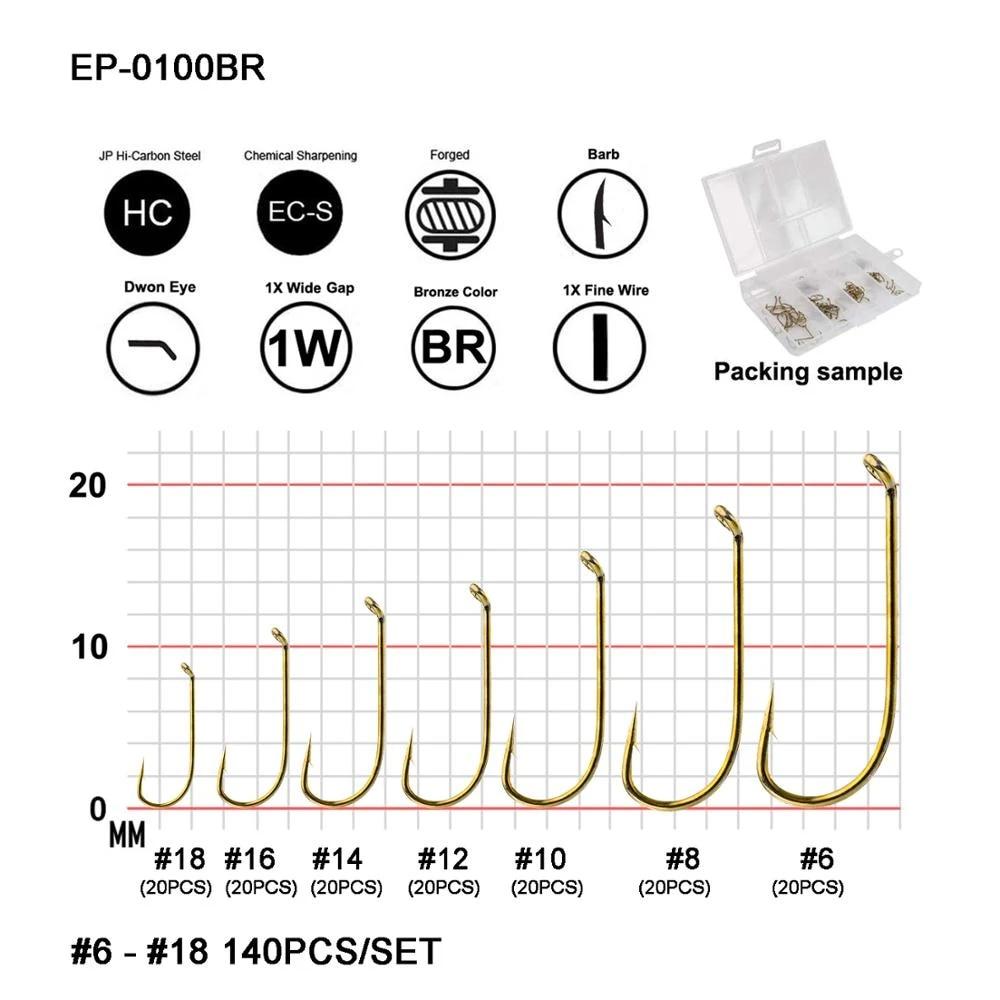 Eupheng 100pcs EP-TMC-100 Standard Dry Forged Down Eye Fly Fishing Hooks