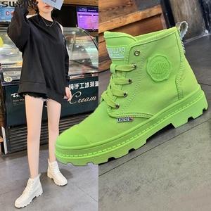 Image 1 - Zapatos planos SWYIVY con botas Martin, zapatos de plataforma para mujer, nuevos botines de mujer de lona de otoño 2019, zapatos femeninos transpirables sólidos