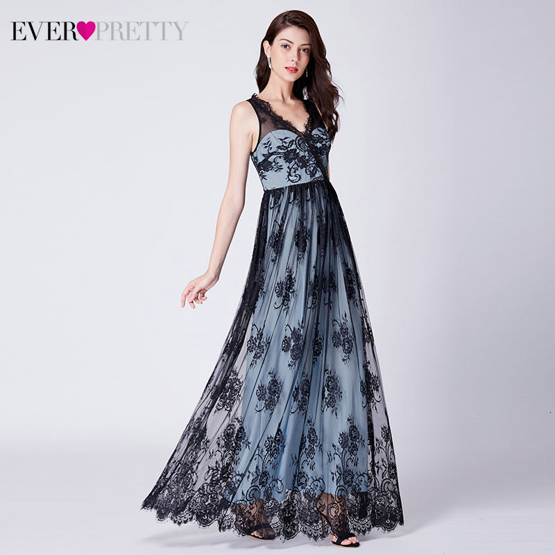 Robe De Soiree Elegant Lace Evening Dresses Long Ever Pretty EP07422BK A-Line V-Neck Sleevless Illusion Party Gowns Vestidos