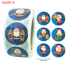 500PCS Christmas Santa Claus Kraft Paper Packaging Sticker for Candy Dragee Bag Gift Box Packing Bag Wedding Thanks Stickers
