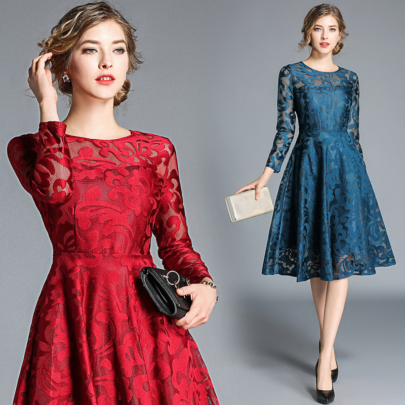 BacklakeGirls 2019 Round Neck Long Sleeve Self-cultivation Knee-length Organza Red Cocktail Dresses Black For Cocktail Party