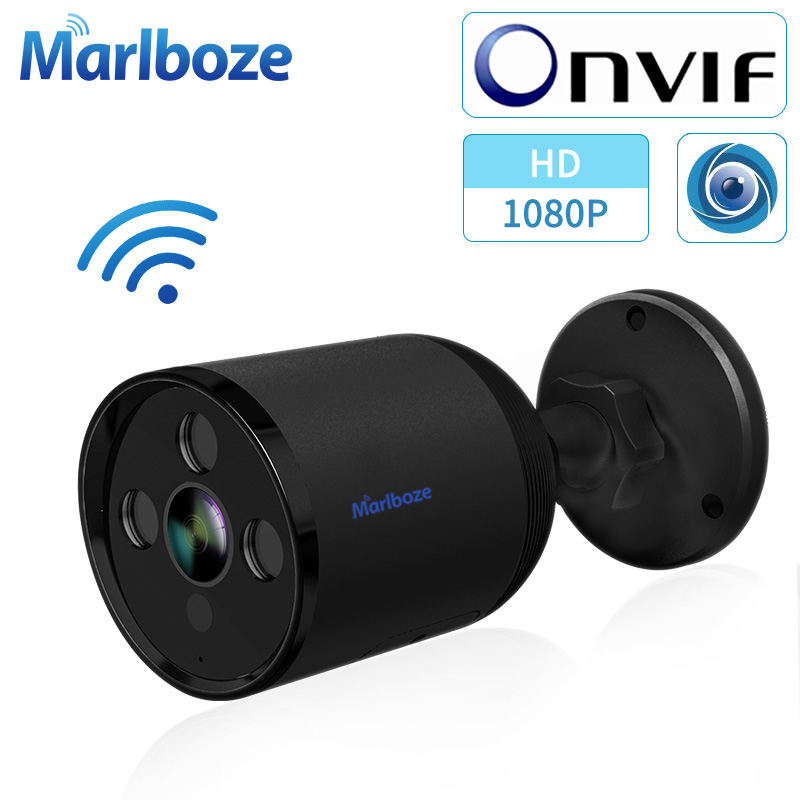 Marlboze 1080P Wifi Outdoor Ip Camera YCC365 Plus APP Control 2MP HD Wifi Bullet Camera Black Two Way Audio Security Cctv Camera
