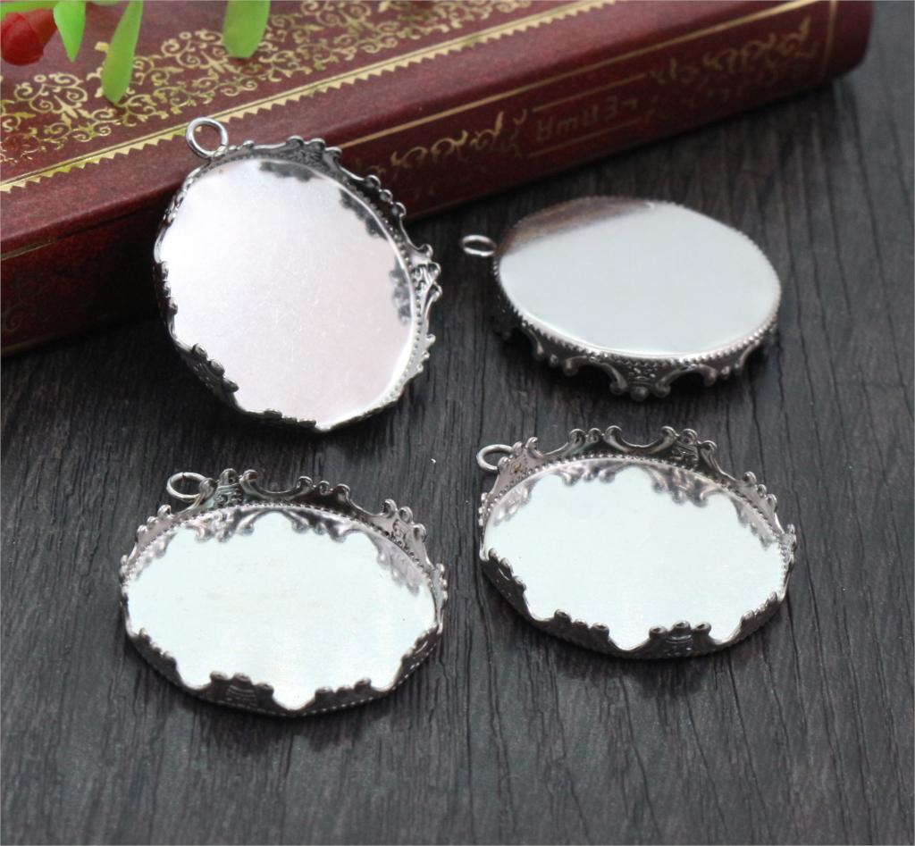 ( No Fade ) 10pcs 25mm Inner Size Stainless Steel Material Simple Style Cabochon Base Cameo Setting Charms Pendant Tray-T1-04