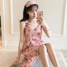 100% Cotton Women Spaghetti Strap Nightgowns Cartoon Night Dress Fashion Girls Nighty Sleepwear Ladies Nightwear Summer Homewear