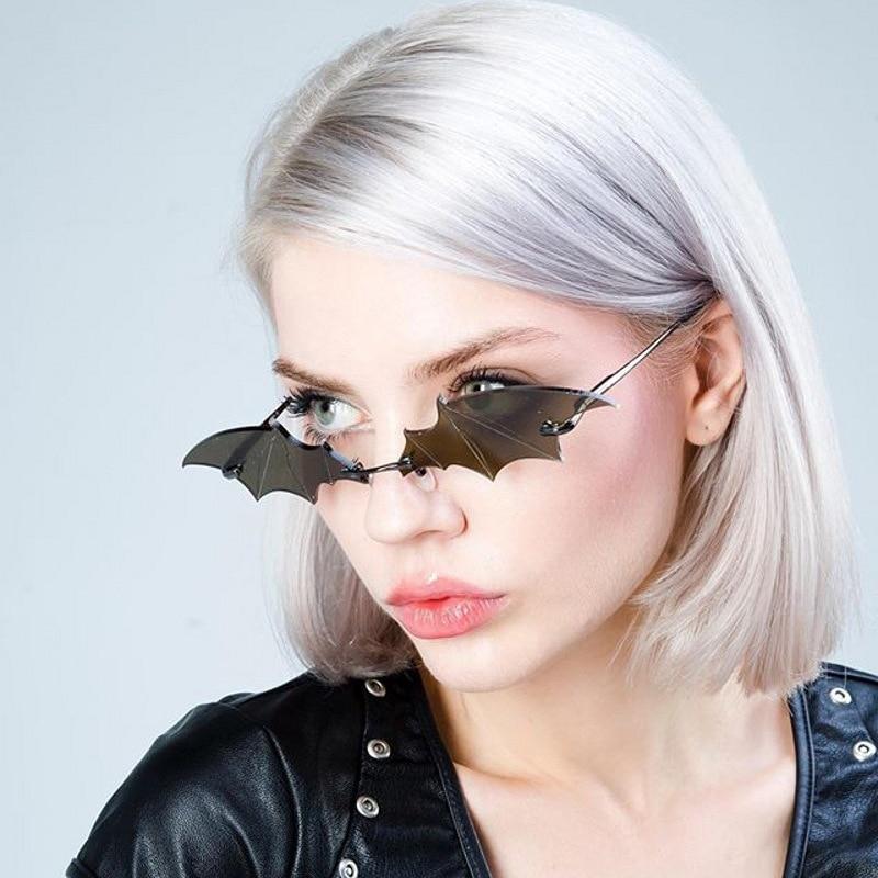Mirror Shades Sun-Glasses Bat-Shaped Rimless Black Vintage Trendy Women Fashion Male