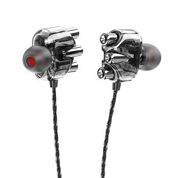 Słuchawka douszna czterordzeniowa podwójna ruchoma cewka Karaoke telefon komórkowy uniwersalny kabel do słuchawek Subwoofer odtwarzacz HD tanie i dobre opinie douszne Dynamiczny CN (pochodzenie) PRZEWODOWY Liniowa 3 5mm CABLE