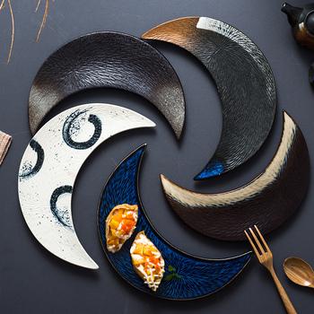 Japońska żywność talerz sushi ceramiczny nieregularny talerz kreatywny retro talerz księżycowy talerz na przekąski zastawa stołowa do kuchni ozdobny talerz tanie i dobre opinie Stałe Owalne Ware of the Late-Ming and Early-Qing Dynasties Japanese Irregular 10 Inch Retro Style Plate Dish Hand-Painted