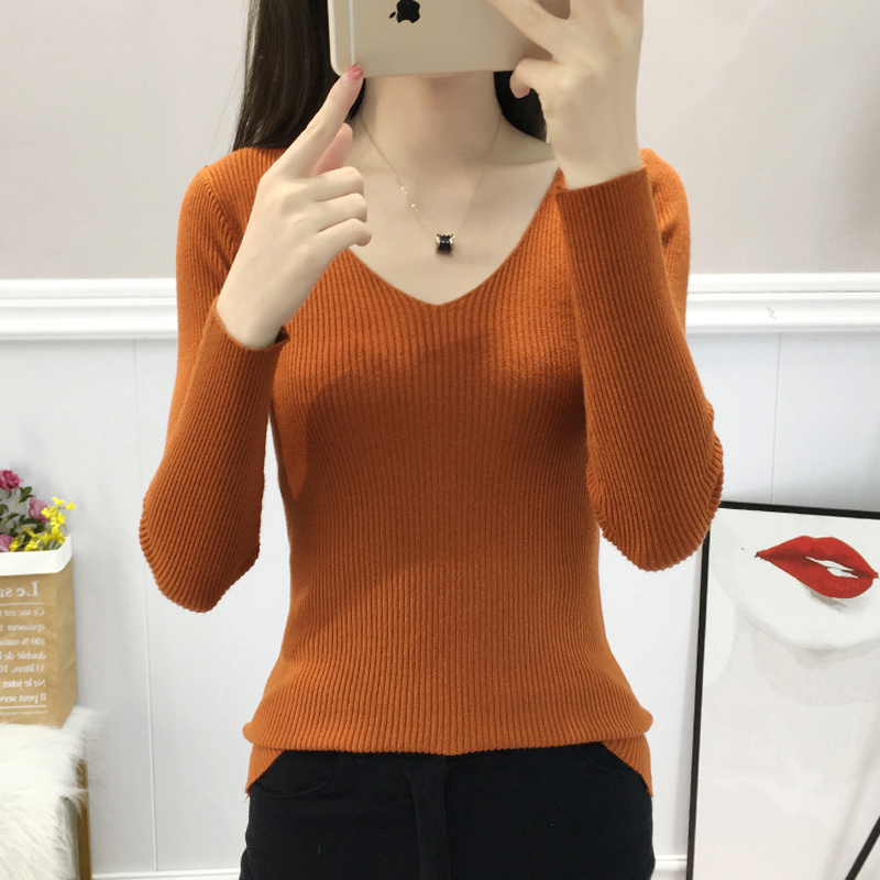 Lucyever New Arrival Women Knit Sweater Autumn Winter Sexy V-neck Korean Pullover Ladies Basic Top Fashion Casual Jumper Sweater