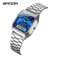 Sanda Männer Uhren Blau Retro Edelstahl Band Digital Display erkek kol saati zegarek damski relogios Armbanduhren