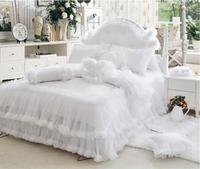 Korean Princess bedding set Luxury Wedding White Lace bedspread bed skirt 4pcs Jacquard duvet cover bed sheet Linen Home Textile