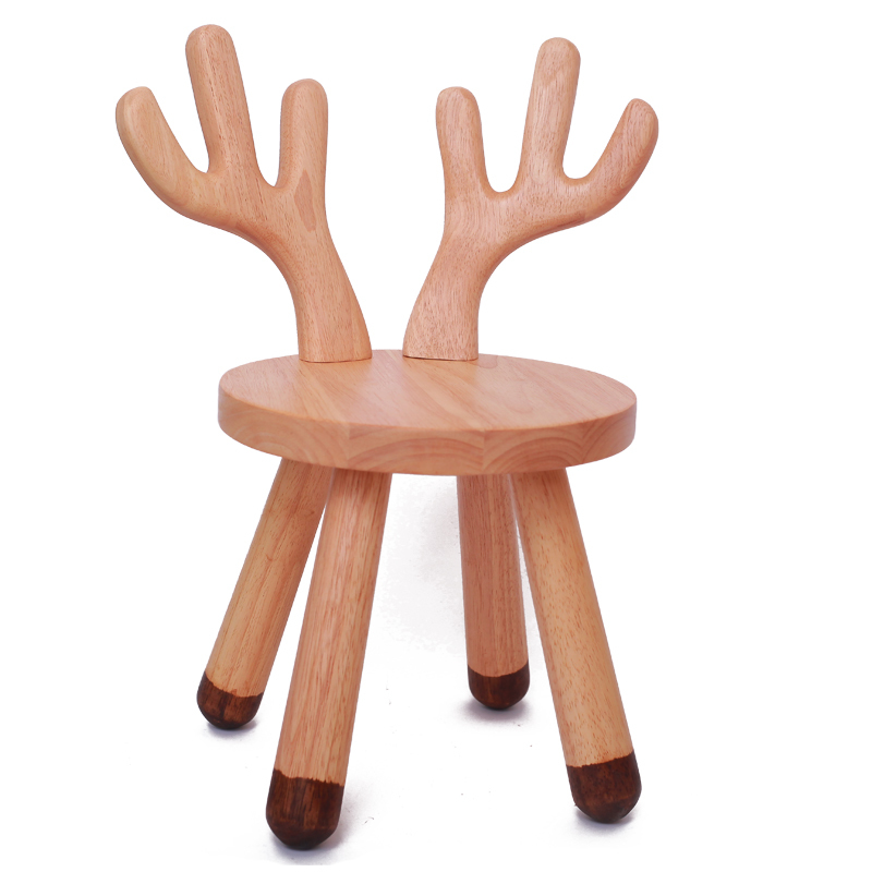 H1 Solid Wood Children's Stool Deer Animal Chair Kindergarten Baby Cute Table Stool Cartoon Small Bench Back Children's Table