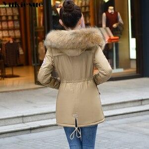 Image 2 - Модные осенне зимние теплые куртки, Женская длинная парка с меховым воротником, большие размеры, Повседневная Хлопковая женская верхняя одежда, парка большого размера