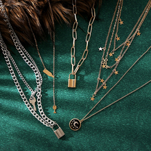 Luokey Chunky Cuban Chain Necklace For Women Men Rock Choker Punk Jewelry Layered Star Lock Pendant Necklace For Women Aesthetic stylish bar layered black choker necklace for women