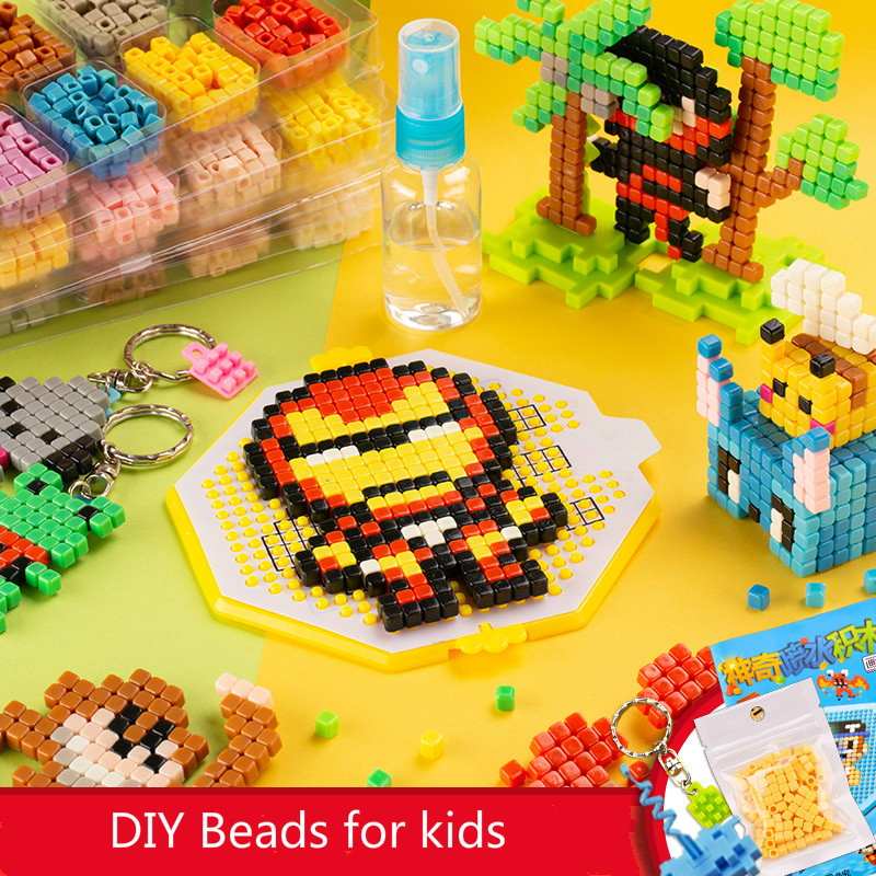Children Magic Water stick kit DIY 3D aquar Pegboard bead set Hama pixel art beads set 5mm Puzzle Educational Toys for kids(China)