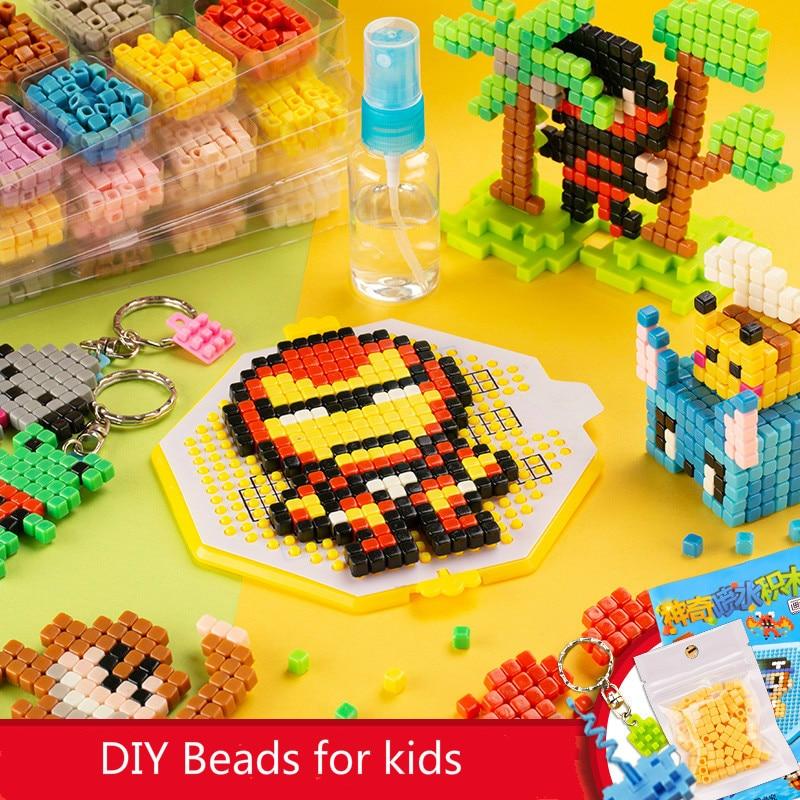 Children Magic Water Stick Kit DIY 3D Aquar Pegboard Bead Set Hama Pixel Art Beads Set 5mm Puzzle Educational Toys For Kids