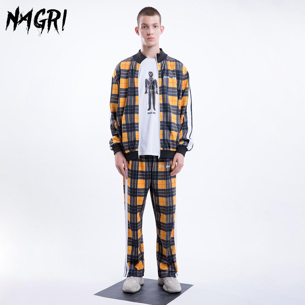 NAGRI Men Set Plaid Sweatshirt Pants Hip Hop Casual Jackets Zipper Hoodies Fashion Joggers Tracksuit Yellow