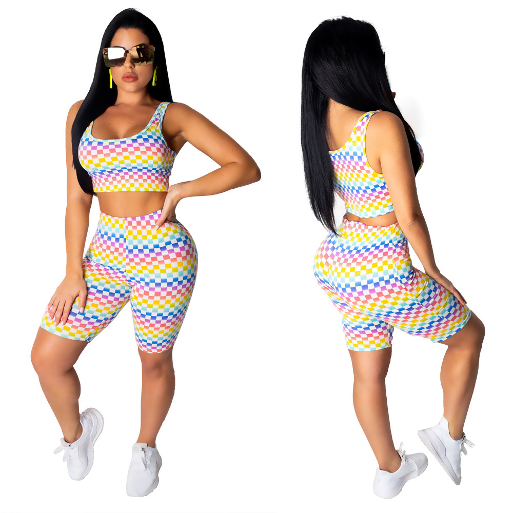 X9140 Cross Border For AliExpress Hot Selling Europe And America Fashion Printed Navel Vest Tight Shorts Two-Piece Set